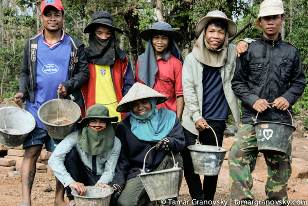 Workers at What Phou , Champasak, Laos