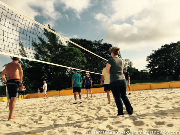 At the Volleyball Court