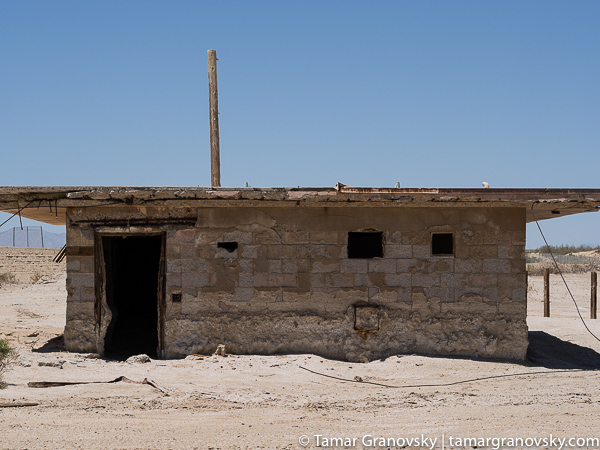 Same building as above - frontal view. Naval Test Site. Salton Sea, California.